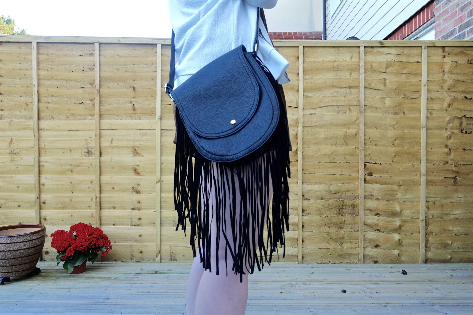 boho cross over shoulder bag with tassels festival look
