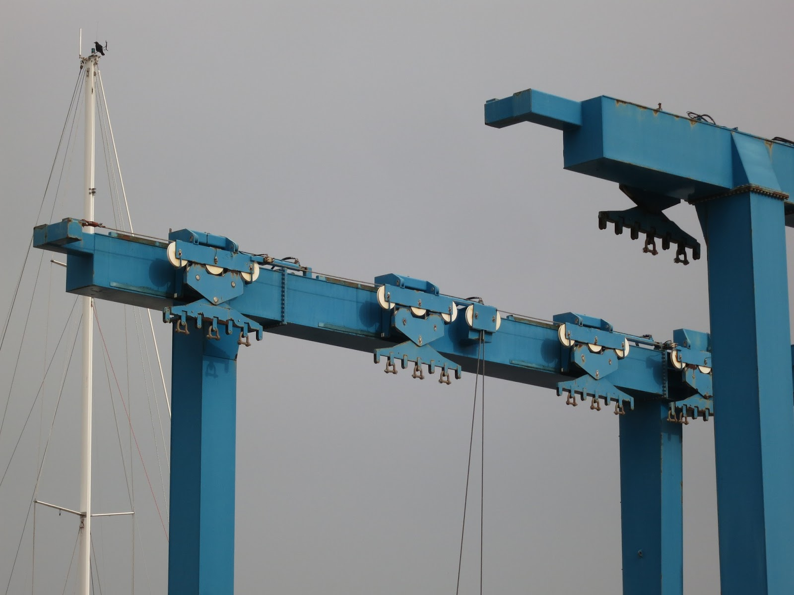Parallel arms of blue boat crane with whit mast on the left (with bird on)