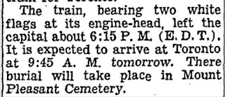 Mackenzie King Funeral Train, July 26 - 27, 1950 (Schedule)