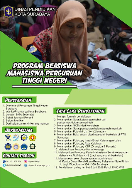 Program Beasiswa Mahasiswa Tinggi Negeri Tahun 2018 - Pemkot Surabaya