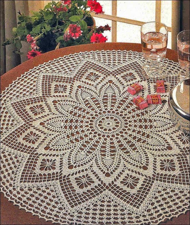 Carpeta redonda tejida al crochet