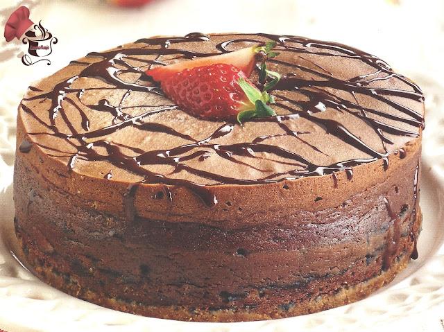 Bizcocho de chocolate negro y queso
