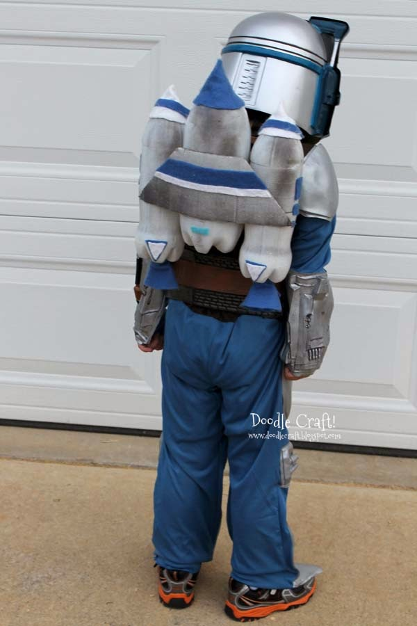 Our Jango Fett Jet packs from the summertime matched perfectly! And it hides the plainess of the brown back. Store bought costumes usually neglect the ... & Doodlecraft: Jango Fett Halloween Costume Alterations!