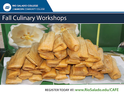 snapshot of Fall Culinary Workshops flier, featuring a stack of tamales.