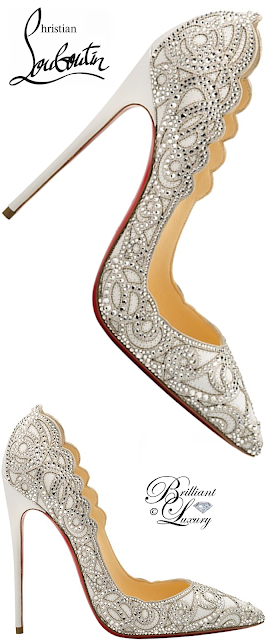 Brilliant Luxury ♦ Christian Louboutin Top Vague Scalloped Crystal Red Sole Pump #white