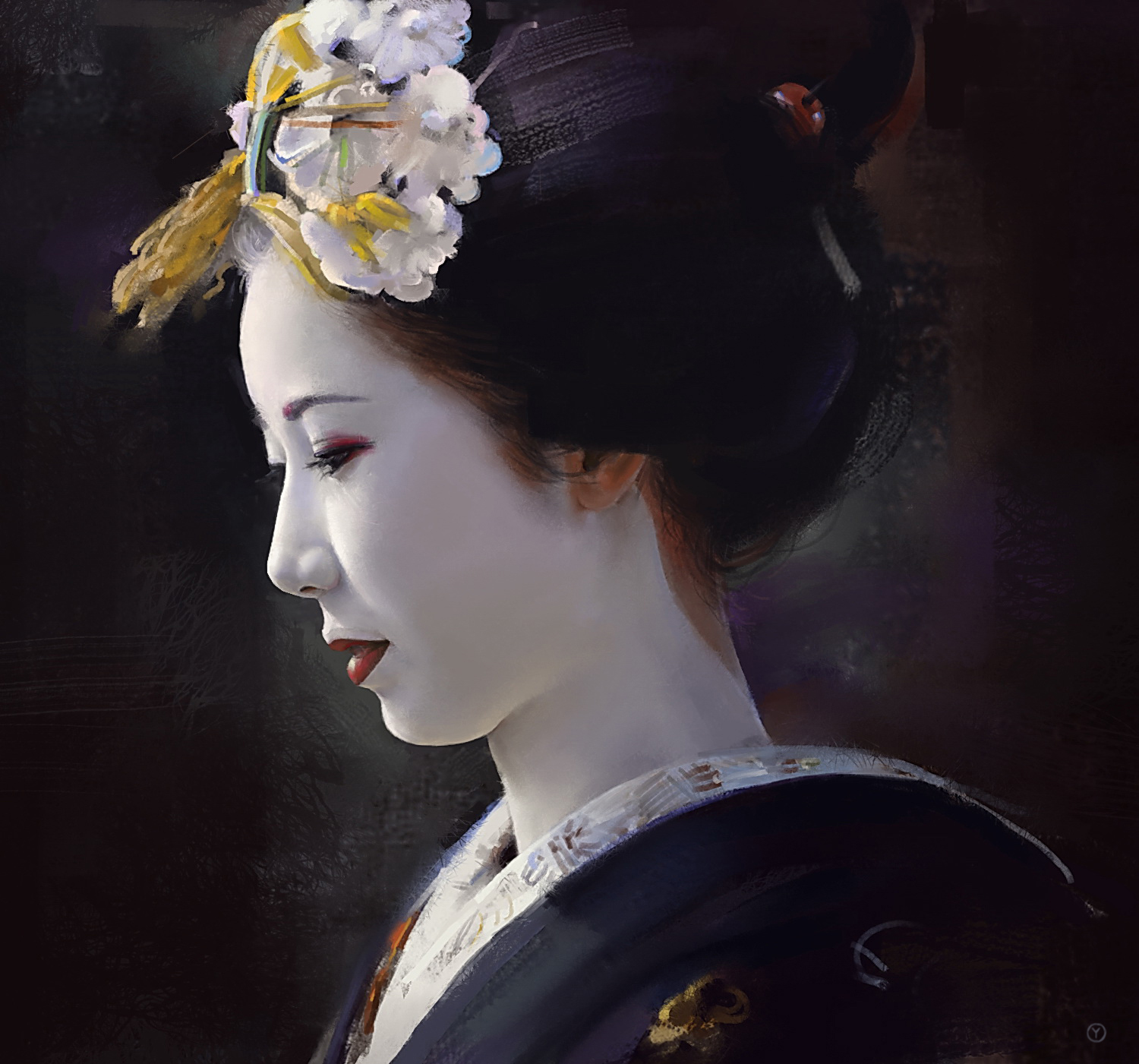 A beautiful geisha with a bbc mh