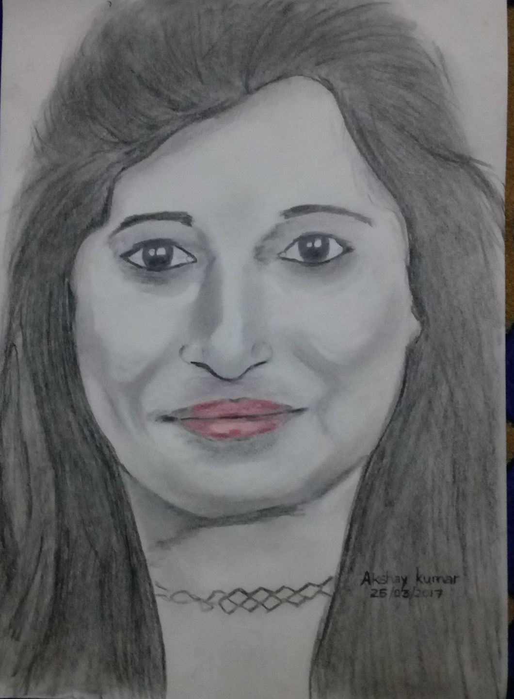 Pencil sketch of indian girl smiling face by akshay kumar