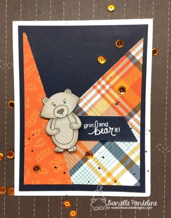 Inky Paws Challenge 37 - Plaid | Plaid Bear Fall  Card by Danielle Paneline | Winston's Birthday Stamp set by Newton's Nook Designs