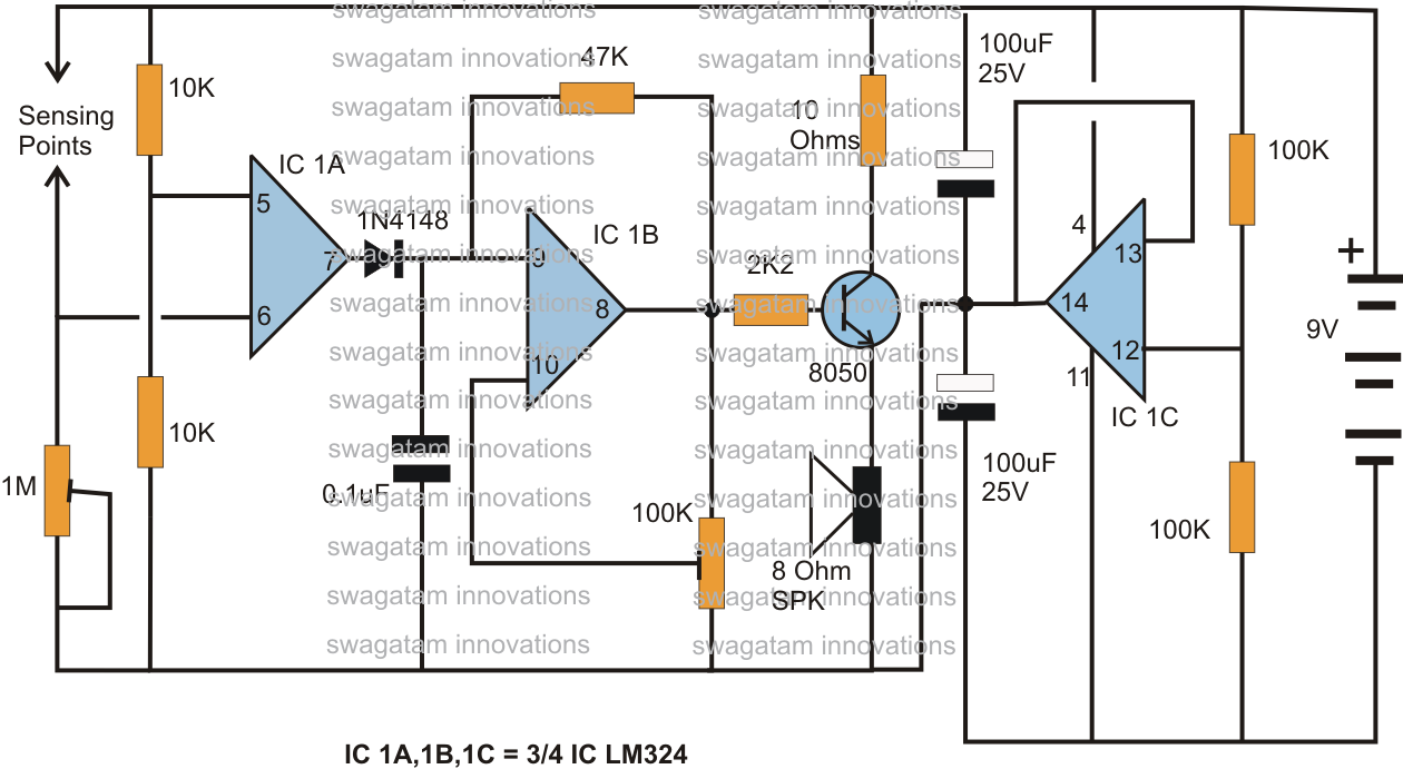 Earth leakage indicator circuit electronic circuit projects - Rain Sensor Alarm Circuit Using The Ic Lm324