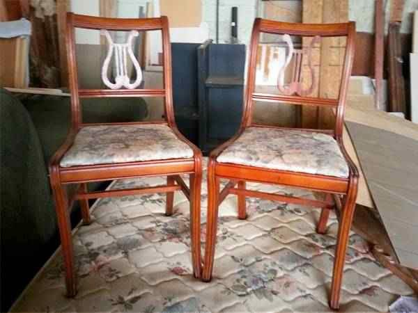 Antique Lyre-Back Dining Chairs (NW OKC Craigslist) $20