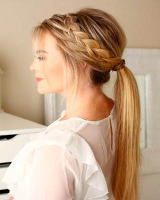 peinado con cola de cabello con trenza elegante tumblr de moda juvenil