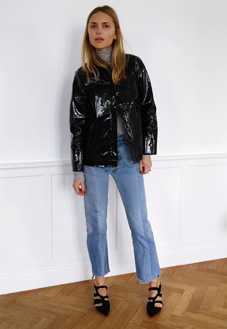 patent leather jacket street style