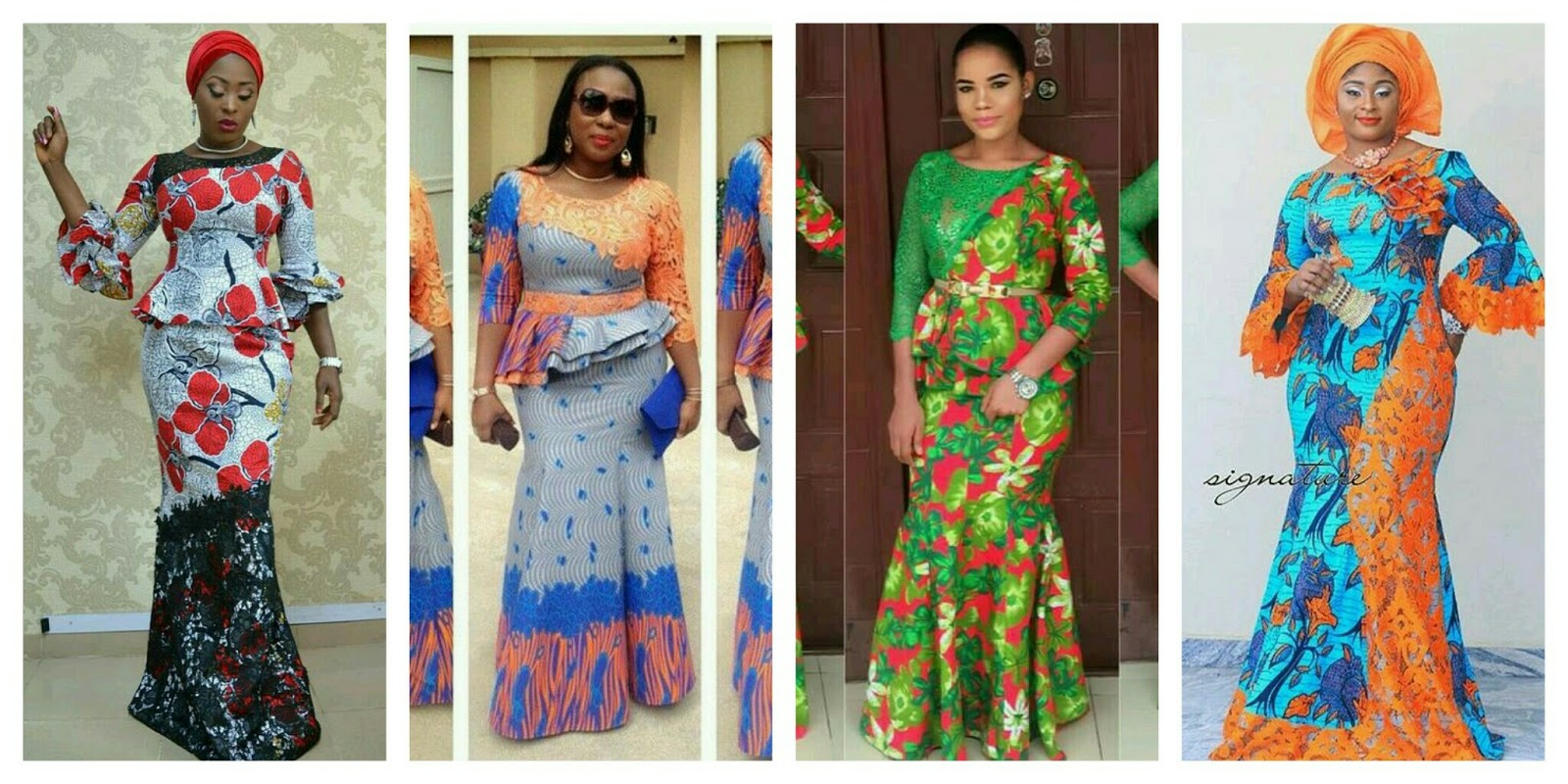 Trendy Ankara Long Gown Style Combined With Cord Lace