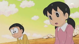 Nobita and Shizuka fight and sitting sad