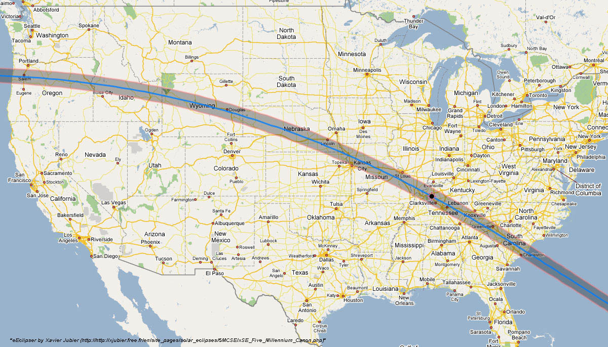map of the 2017 total eclipse path