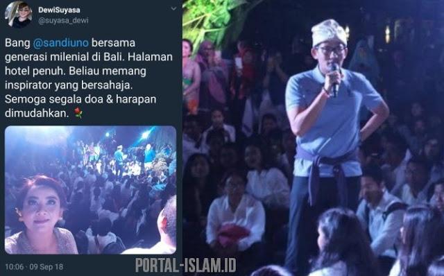 Pecahh! Milenial Bali Bertemu Sandi, Tempat Penuh Membludak