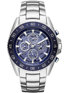 MICHAEL KORS JetMaster Blue Skeleton Dial Stainless Steel Men's MK9024