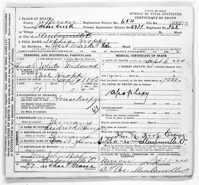 Death Certificate of Sophia (Meinzen) Kropp