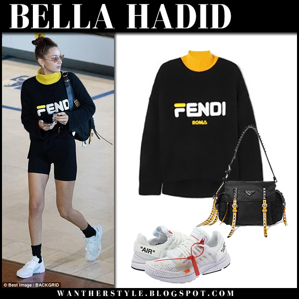 2f037da4b76f0 Bella Hadid in black Fendi sweater and sneakers airport style september 14