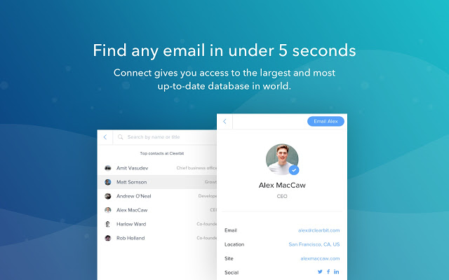 Clearbit Connect - Supercharge Gmail - Chrome Web Store to find all social media accounts by email free