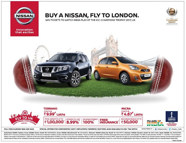 Buy A Nissan Car and Fly to London | March 2017 Ugadi festival offers