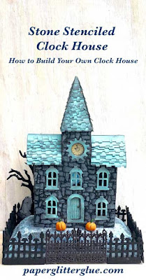 Stone Stenciled Clock House Cardboard house