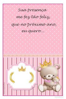Etiquetas de Princesa Osita de Peluche para imprimir gratis.