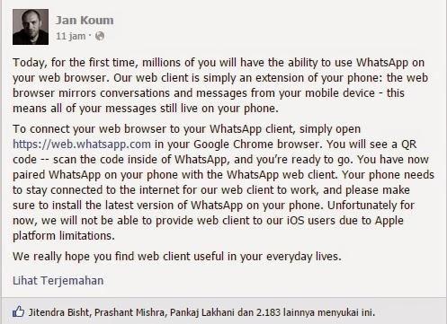 Whatsapp versi dekstop