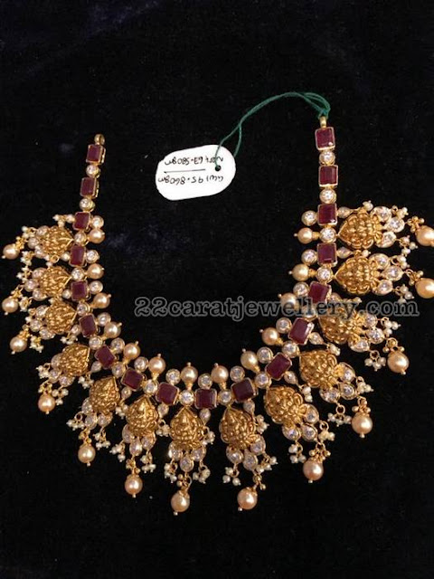 95 Grams Lakshmi Necklace with Rubies