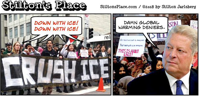 stilton's place, stilton, political, humor, conservative, cartoons, jokes, hope n' change, ice, protests, immigration, al gore, border, trump, obama, homeland security