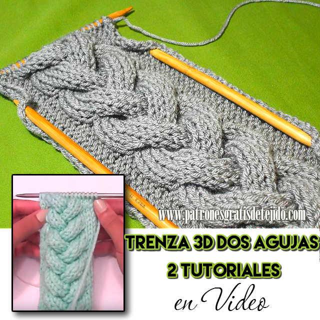 Aprendemos a tejer con dos agujas o palitos, una hermosa trenza en relieve o 3D. Mira las explicaciones en español a continuación