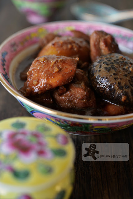 ayam pong tay Nyonya braised chicken mushrooms potatoes