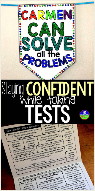 Tips for Staying Confident While Taking Tests with a test prep foldable and a confidence boosting pennant