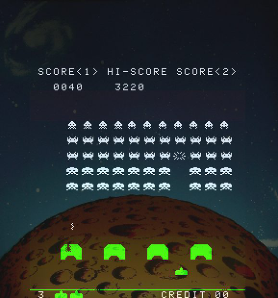 Space Invaders play area with background