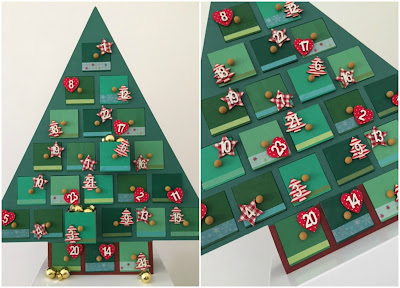 Wooden Advent calendar decorated from Hobbycraft