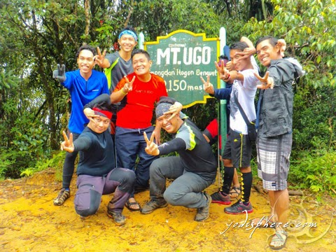 The boys souvenir photo at Mt. Ugo summit marker hover_share