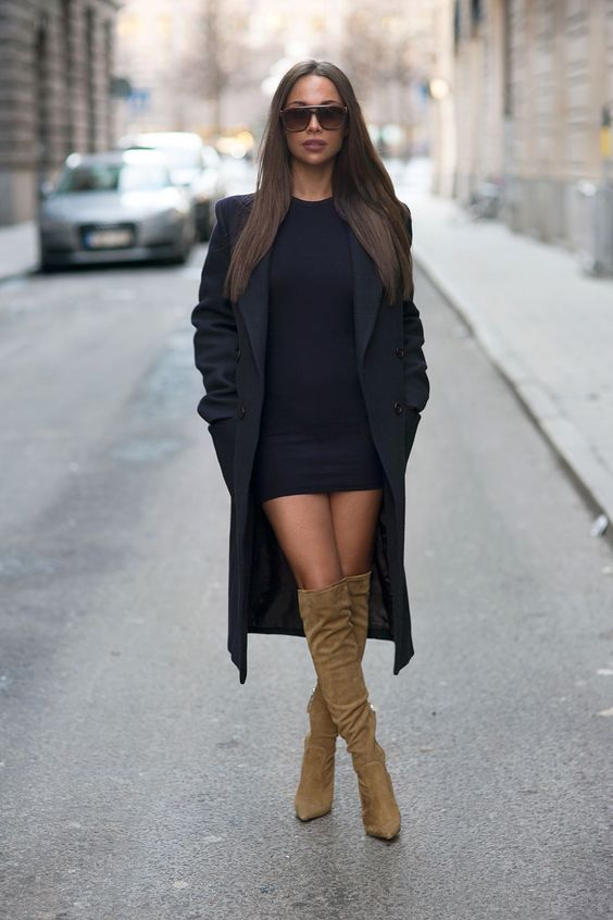 Johanna Olsson Black Bodycon Dress Camel Suede Knee Boots