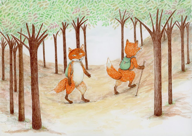 foxes taking a stroll - yara dutra