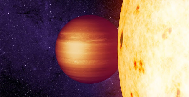 Artist's concept shows the gaseous exoplanet CoRoT-2b with a westward hot spot in orbit around its host star. CREDIT: NASA/JPL-Caltech/T. Pyle (IPAC)