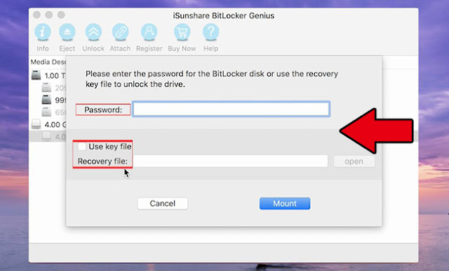 Unlock BitLocker drive with password or recovery key