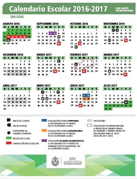Supervisión Escolar Papantla: CALENDARIOS ESCOLARES 2016-2017 ...