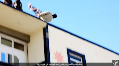 A gay man is thrown off a building top by ISIS militants in Iraq in Jan. 2016