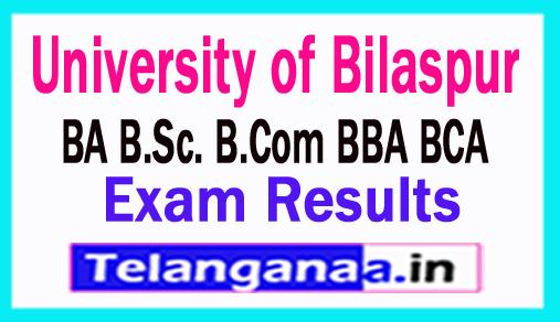 University of Bilaspur Result 2018 BA B.Sc. B.Com BBA BCA