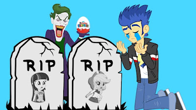 A strange video thumbnail showing Flash mourning dead Twilight Sparkle and Applejack. Joker is seen holding a surprise egg with his mouth open.