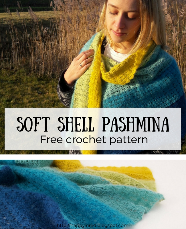 Free crochet pattern: soft shell pashmina | Happy in Red