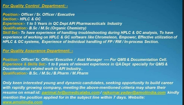 Amoli Organics – Urgent Requirements in QC – QA Department