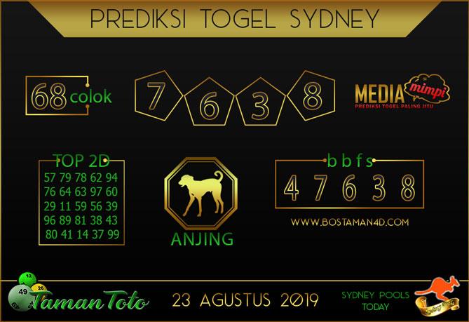 Prediksi Togel SYDNEY TAMAN TOTO 23 AGUSTUS 2019