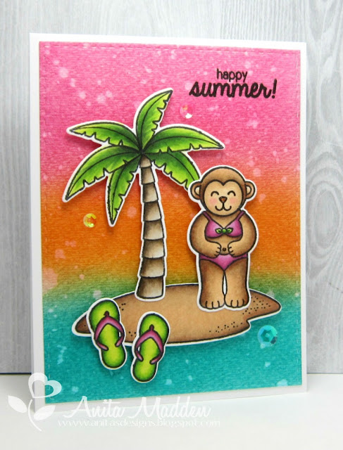 Sunny Studio Stamps Summer Island Getaway Monkey Card by Anita Madden.