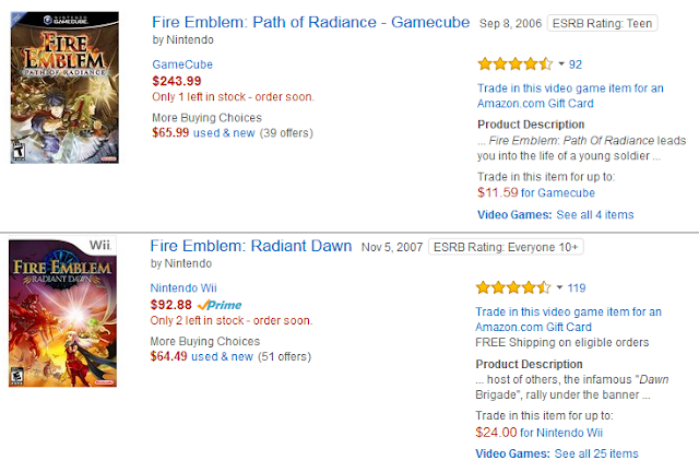 Amazon listings prices Fire Emblem Path of Radiance Radiant Dawn GameCube Wii Nintendo