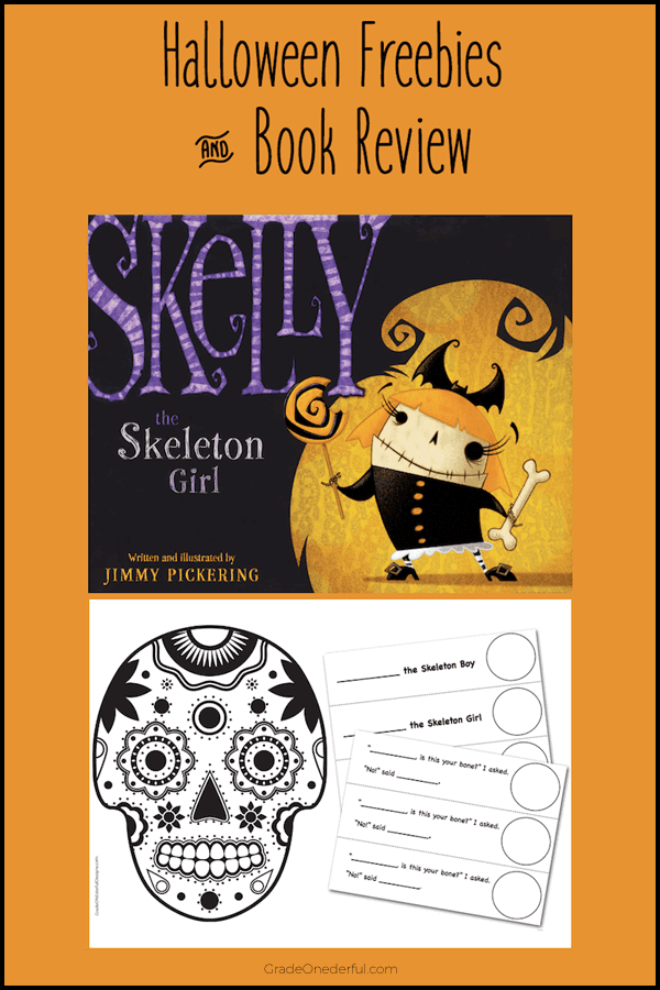 Skelly the Skeleton Girl review and lots of cute freebies (art, writing, colouring sheet). #gradeonederful #halloween #skeleton #kidsbooks #halloweenbooks